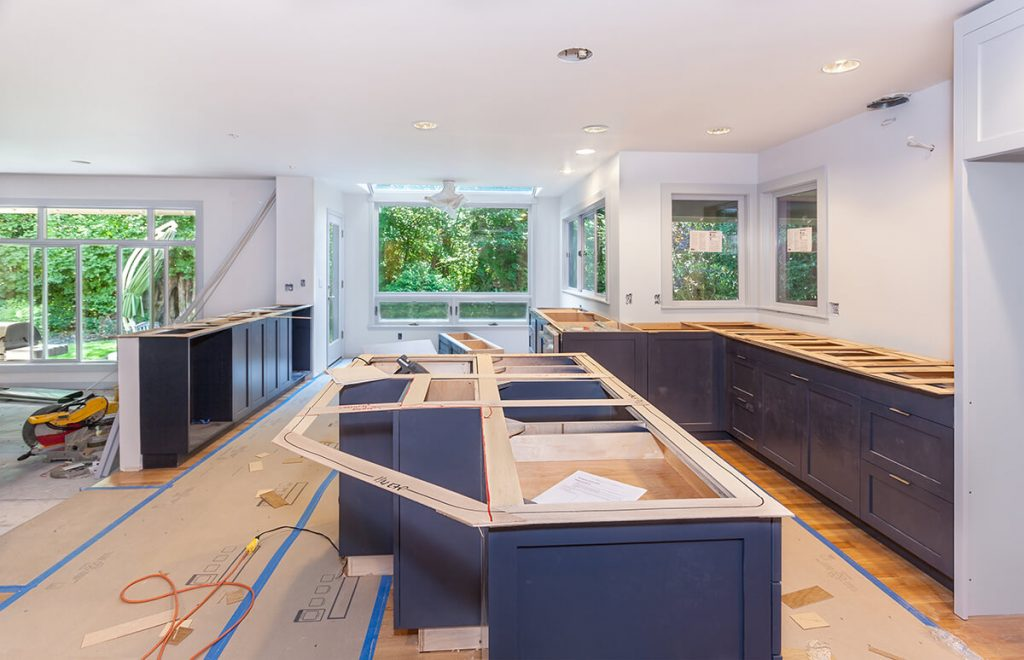 Best Time to Renovate Kitchen - Kitchen mid construction, with unfinished counters